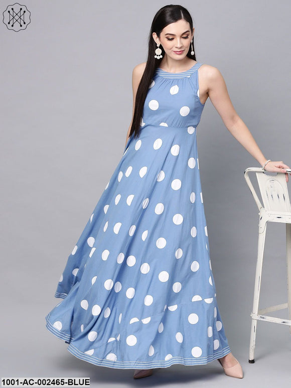 Blue Khari Printed Sleeveless Flared Maxi