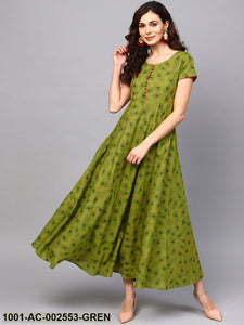 Green Feather Print Flared Maxi
