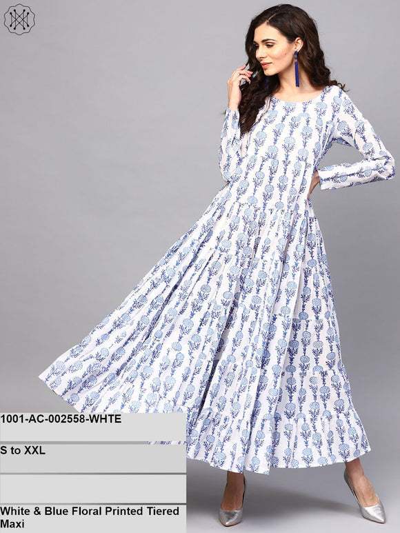 White & Blue Floral Printed Tiered Maxi