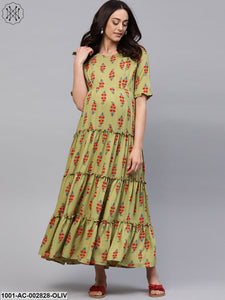 Green & Red Floral Printed Maternity Dress