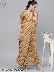 Beige Striped Printed Tie-up Maternity Dress