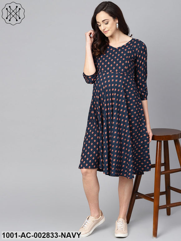 Blue Printed A-Line Maternity Dress