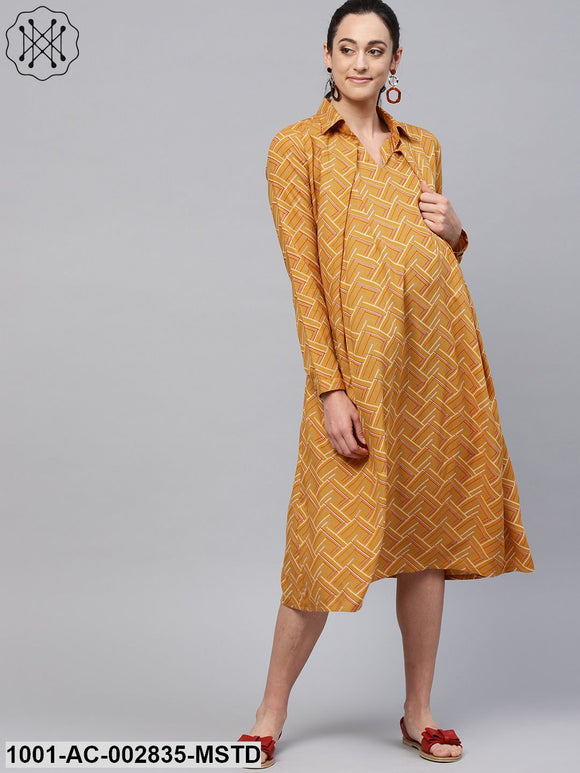 Mustard Printed Box Pleated A-Line Maternity Dress