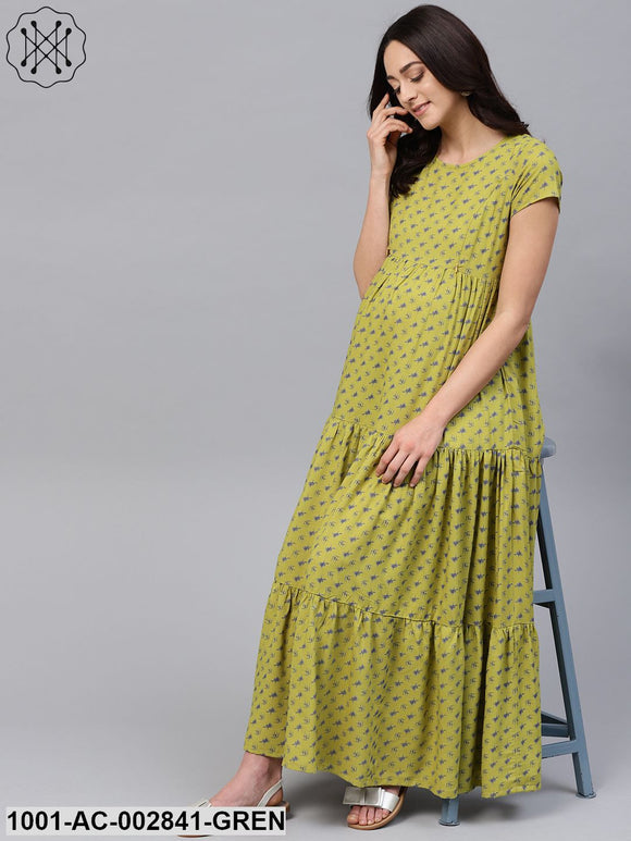 Green Printed Tiered Maternity Dress