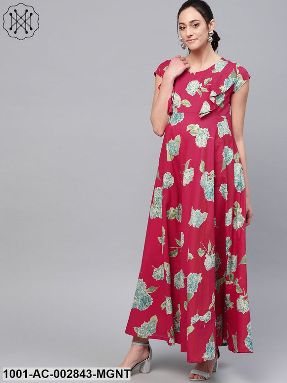 Magenta Floral Printed Flared Maternity Maxi