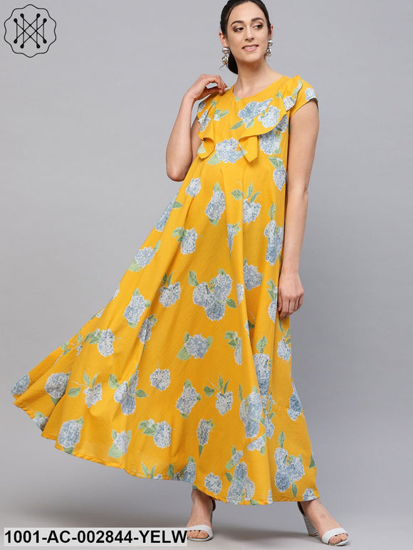 Yellow Floral Printed Flared Maternity Maxi