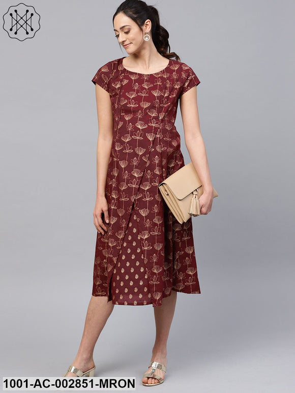 Maroon Gold Printed A-Line Maternity Dress