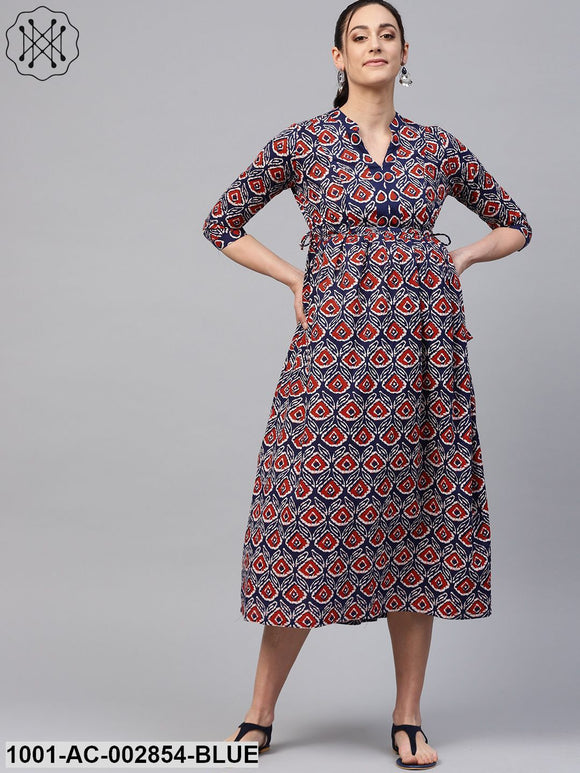 Blue & Maroon Printed Maternity Dress