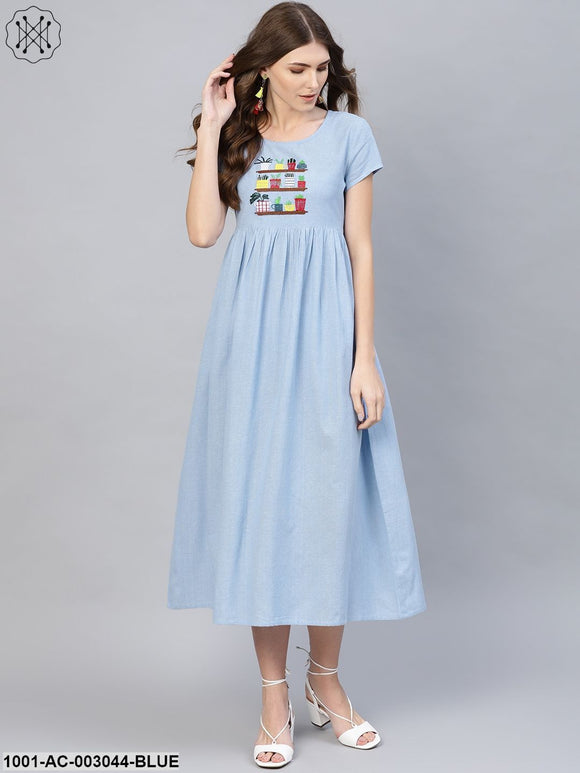 Light Blue Embroidered Dress