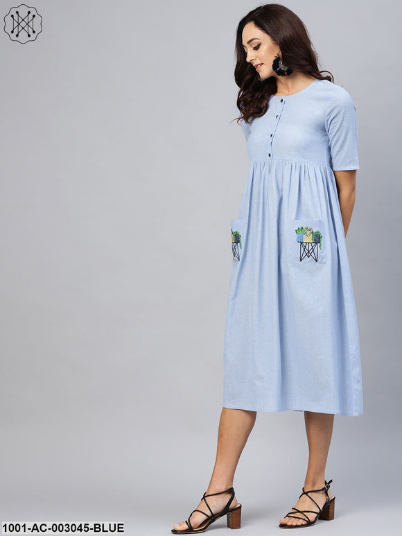 Light Blue Dress With Pocket Embroidery Detailing