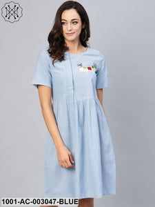 Light Blue Dress With Side Placket And Embroidery Detail