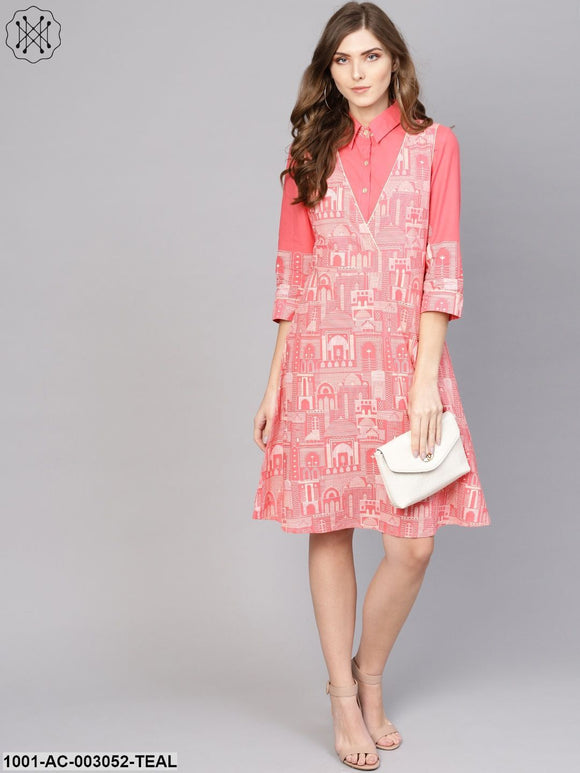 Pink Hawa Mahal Printed Shift Dress With Shirt
