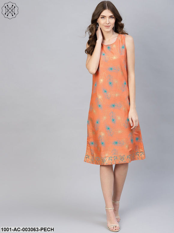 Peach Gold Printed Shift Dress