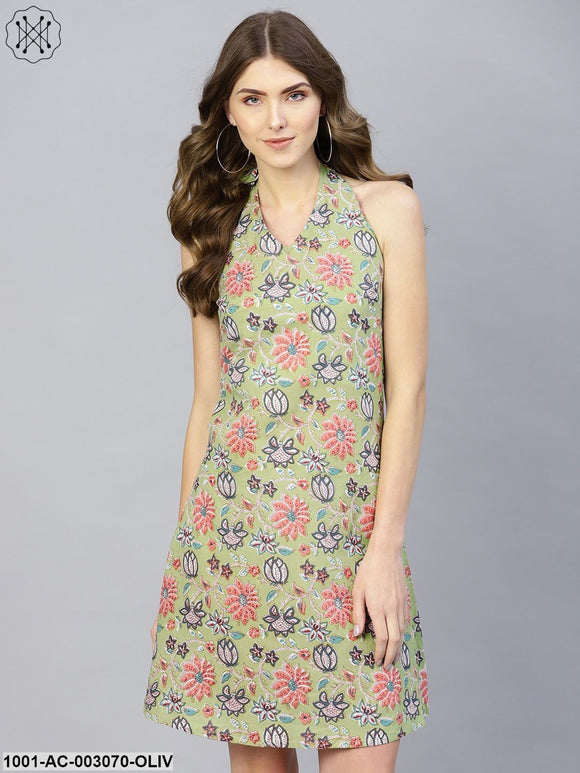 Olive Printed Halter Neck Dress