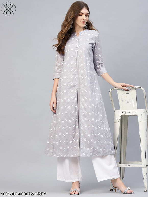 Grey Khari Printed Double Layered Dress