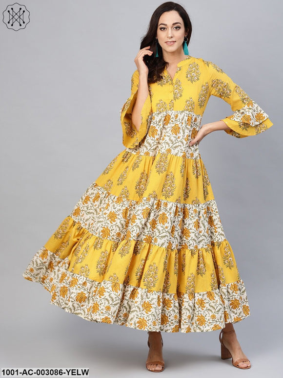 Yellow White Printed Tiered Maxi