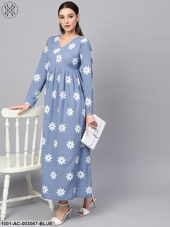 Blue Khari Printed Maxi Dress