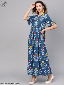 Indigo Printed Maxi Dress With Back Detailing