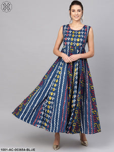 Indigo Printed Panelled Maxi With Detailing