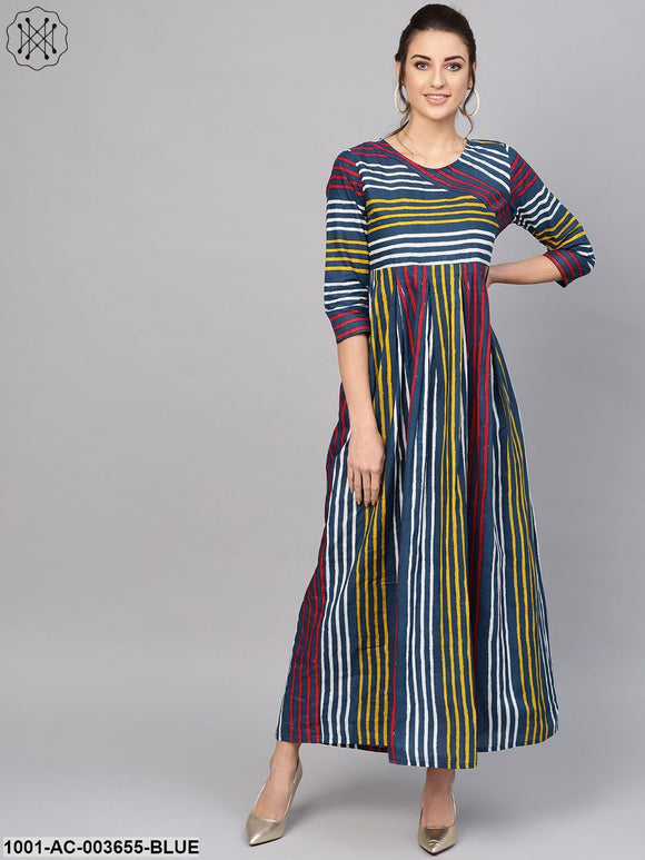 Indigo Striped A-Line Maxi