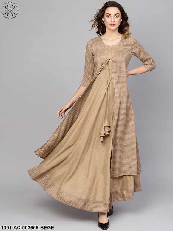 Beige Self Designed Layered Maxi