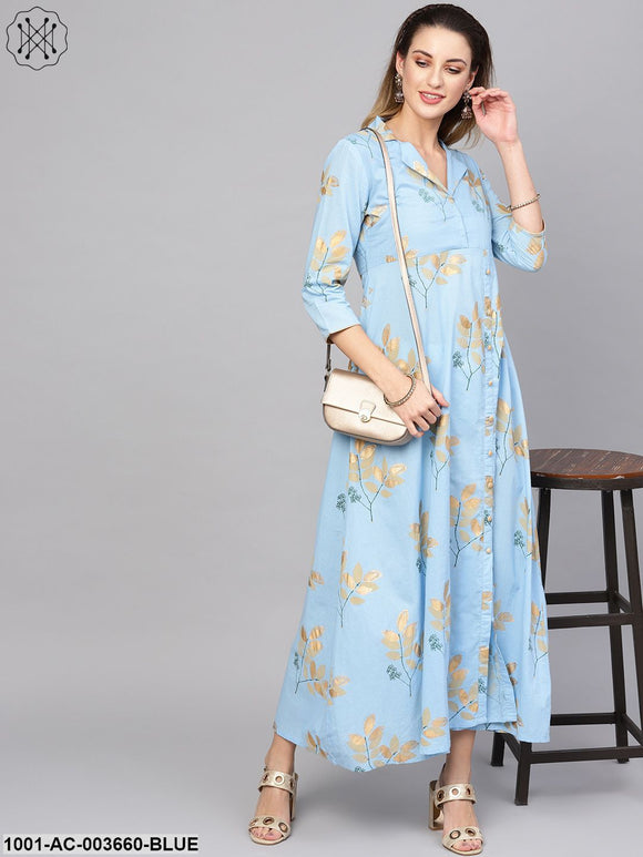 Blue Gold Printed Maxi With Notch Collar