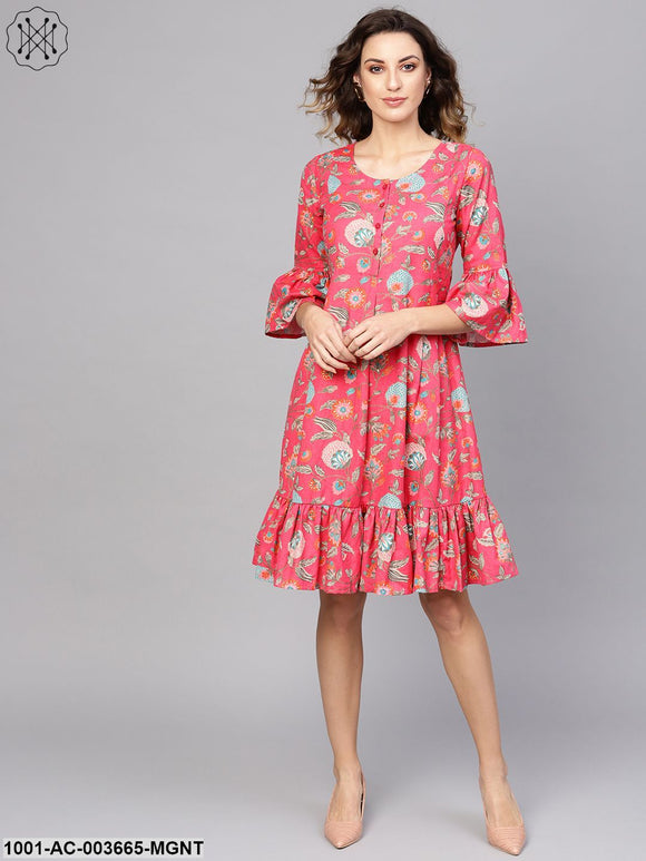 Magenta Printed Short Dress With Flared Sleeve