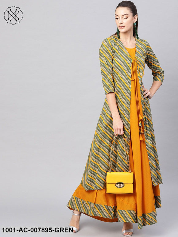 Green Mustard Maxi Dress With Jacket