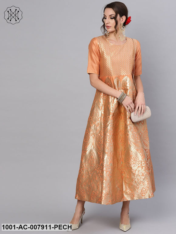 Peach Gold Self Designed Maxi
