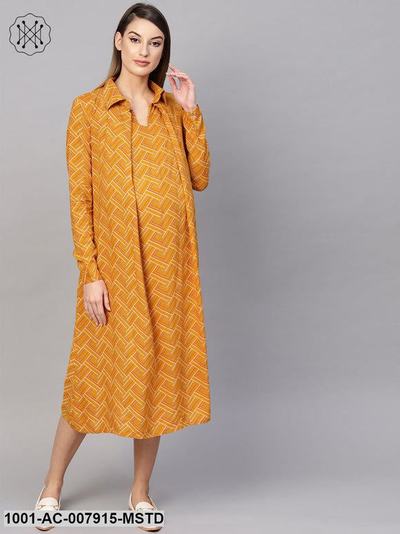 Mustard Printed Maternity Midi Dress