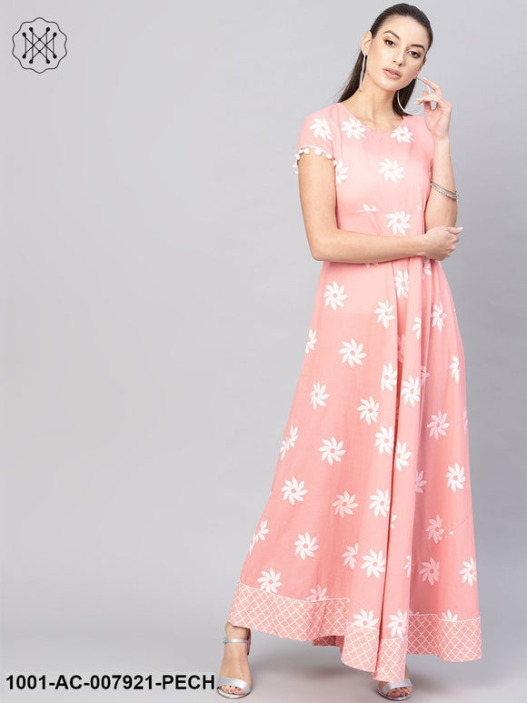 Peach Khadi Printed Maxi Dress With Lace Detailing
