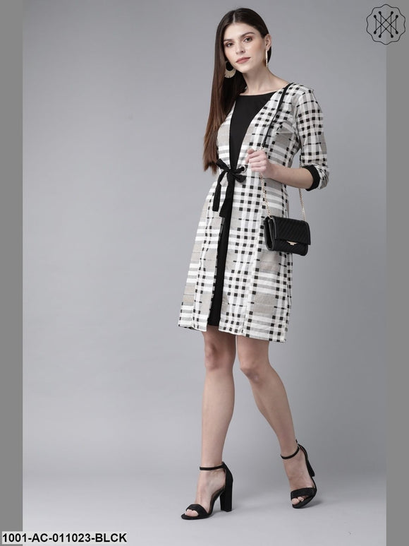 Black And White Double Layerd Dress