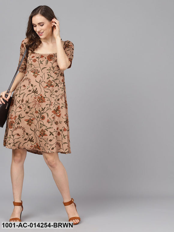 Brown & Gold Printed A-Line Dress