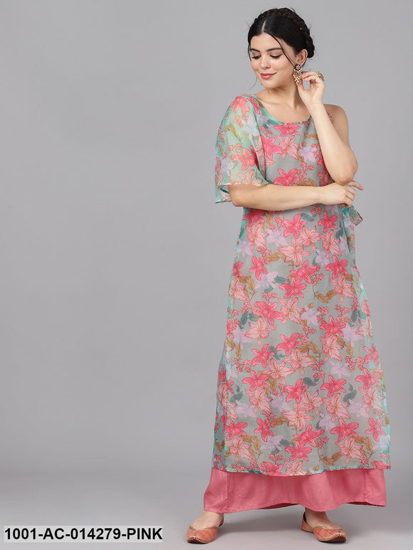 Pink & Blue Floral Print Layered Dress