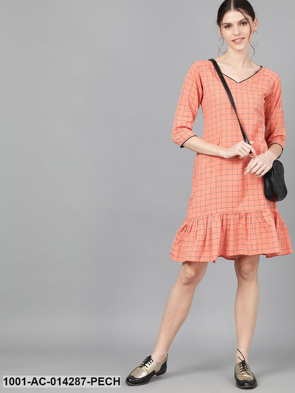 Peach Woven Design Dress