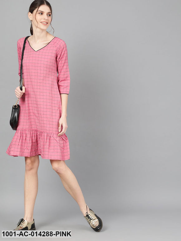 Pink Woven Design Dress