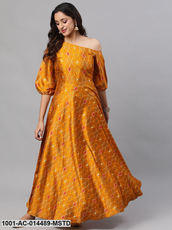 Mustard Printed One Shoulder Flared Maxi