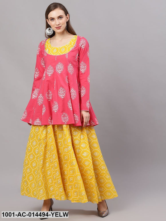 Yellow & Pink Silver Khari printed layered maxi