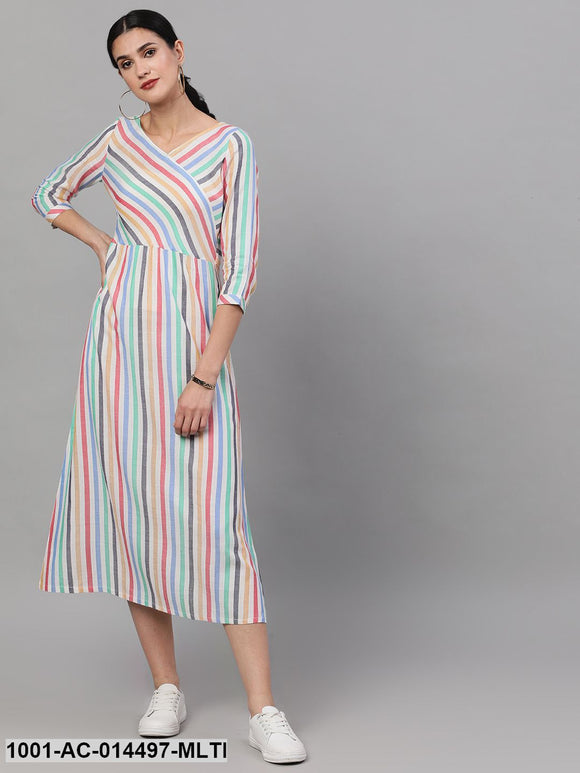 Multicolour yarn dyed striped midi dress