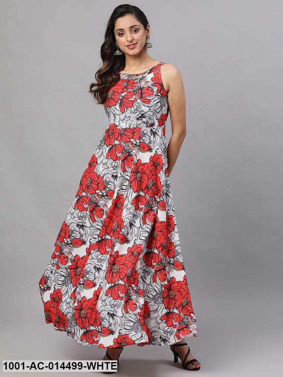 White & Red Big Floral printed Maxi