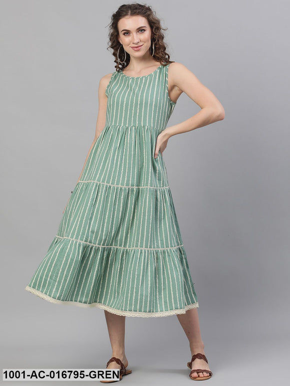 Green & White Striped Printed Tiered Midi Dress