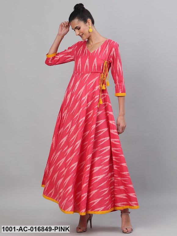 Pink & White Ikat Handloom Woven Design Flared Maxi