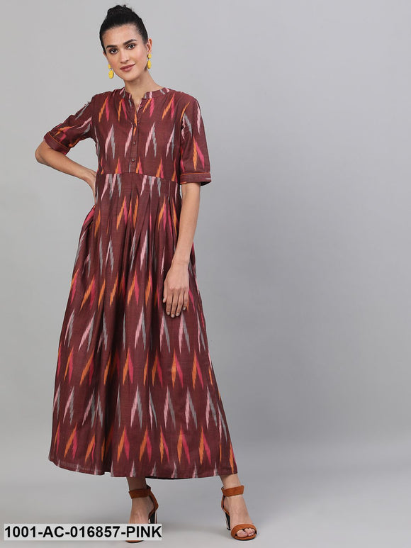 Maroon Ikat Handloom Woven Design Box Pleated Maxi