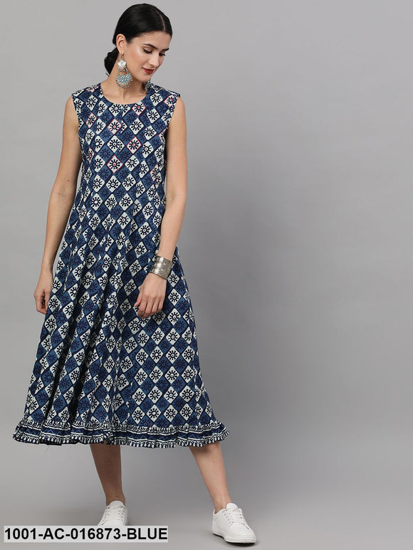 Indigo & White Printed Midi Dress With Embroidered Details
