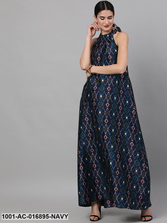 Navy Blue Printed Flared Maxi
