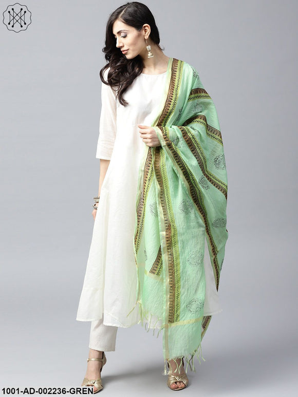 Green & Black Hand Block Printed Dupatta