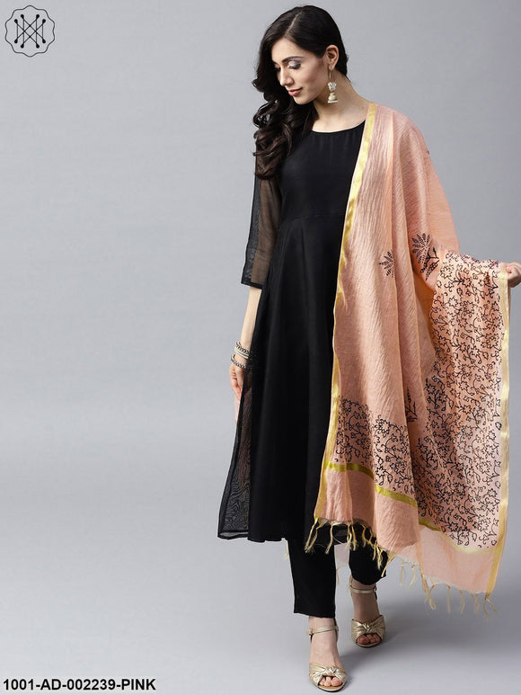 Pink & Black Block printed Dupatta