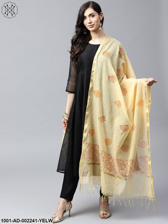 Yellow & Red hand block printed dupatta