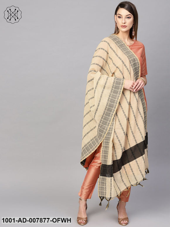 Off White Woven Design Dupatta