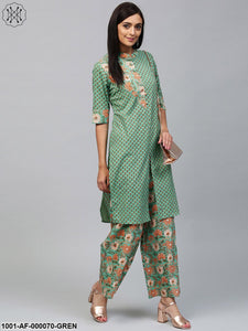Green Floral Pastel Printed Straight Kurta With Palazzo Set